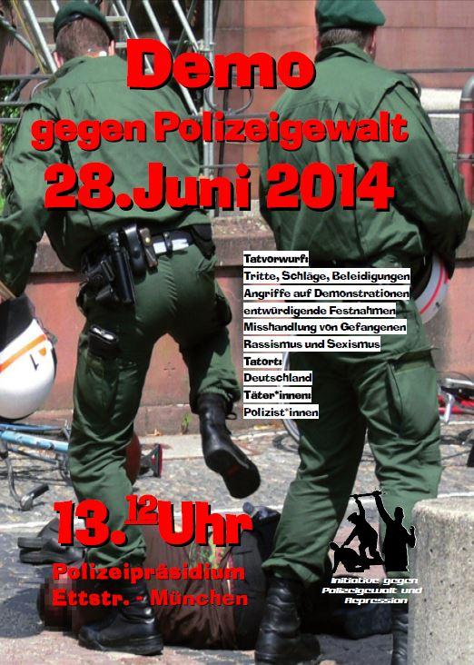 Flyer zur Demo gegen Polizeigewalt
