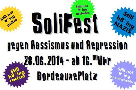 Flyer zum SoliFest gegen Rassismus und Repression